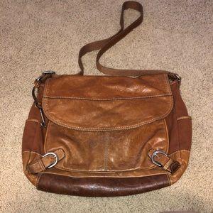 Fossil tan crossbody leather handbag